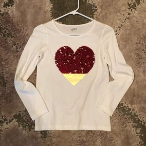 V-Day shirt with reversible sequins, gold to red